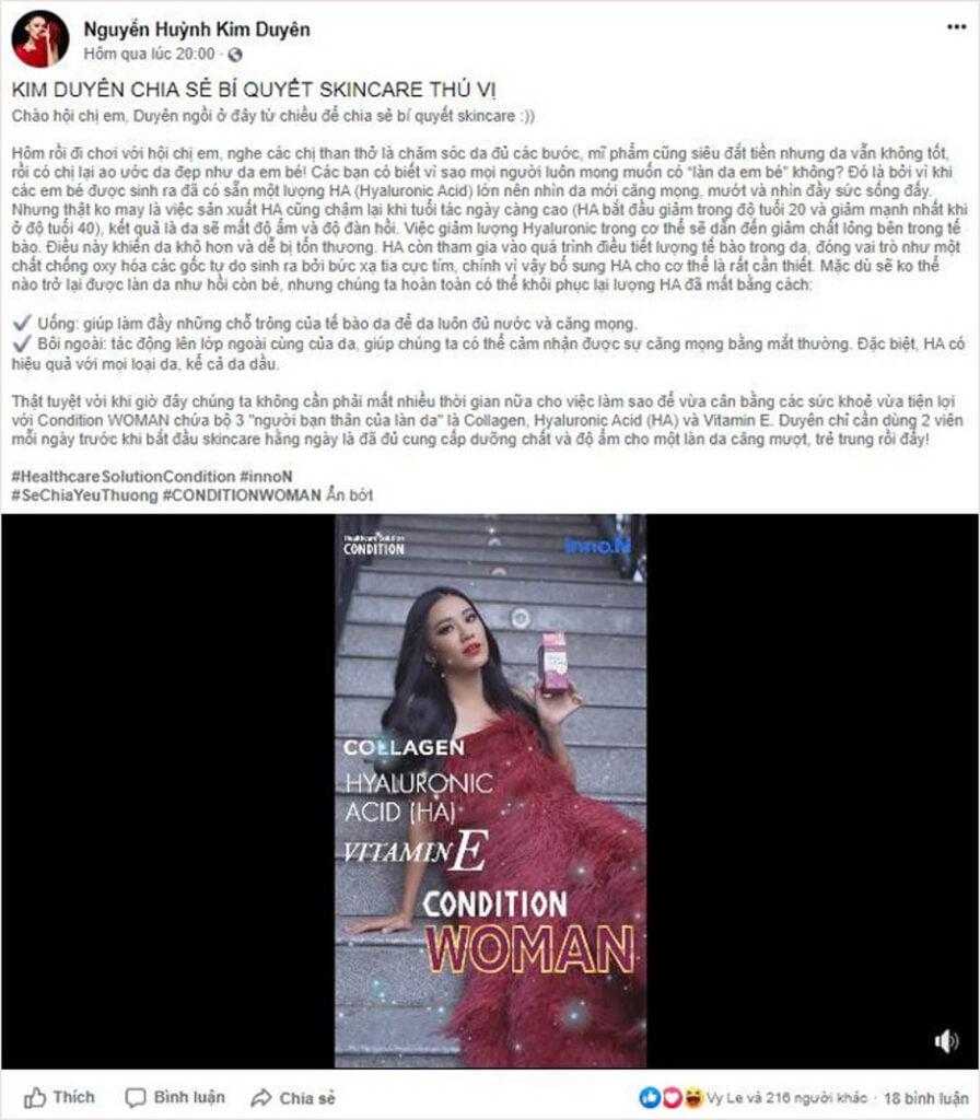 Á hậu Kim Duyên chia sẻ với hội chị em là sản phẩm Condition Woman